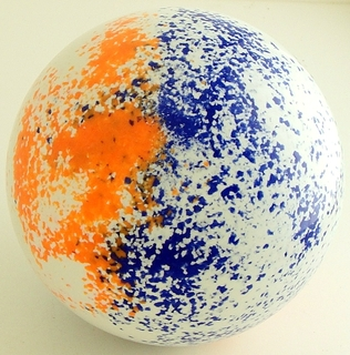 white - fluorescent orange, blue ocean