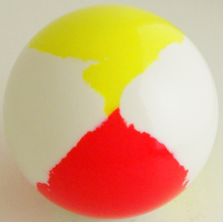 White - fluorescent yellow, fluorescent red